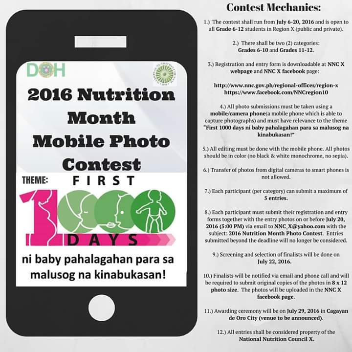 NNC X Mobile Photo Contest for Nutrition Month 2016
