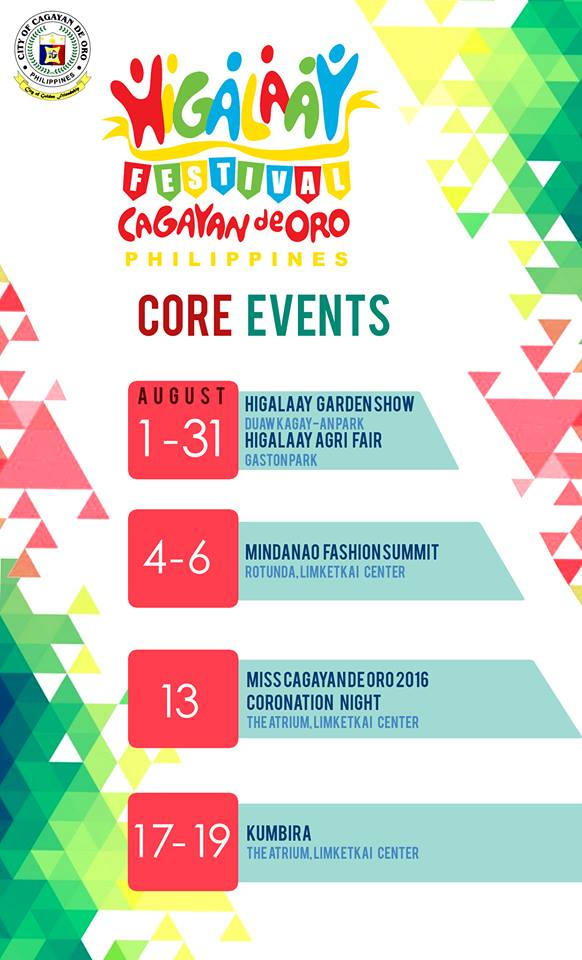 Cagayan de Oro Fiesta Schedule of Activities – Higalaay 2016